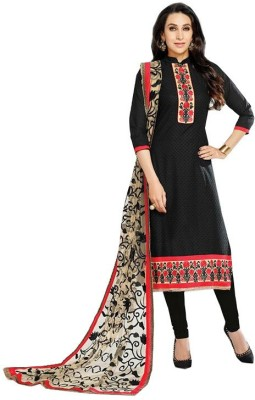 Fashion Ritmo Cotton, Net Embroidered Semi-stitched Salwar Suit Material