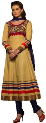 GoAavaran Cotton Embroidered Semi-stitched Salwar Suit Dupatta Material