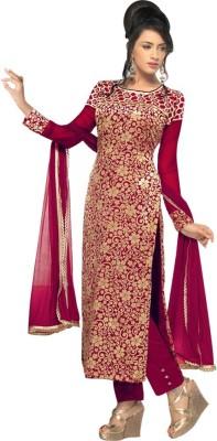 OrangeFab Brasso, Velvet Embroidered Semi-stitched Salwar Suit Dupatta Material