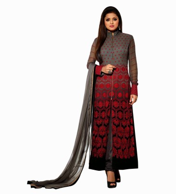 Shiventerprise Georgette Embroidered Semi-stitched Salwar Suit Dupatta Material