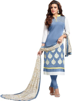Dreamwill Cotton Embroidered Semi-stitched Salwar Suit Dupatta Material