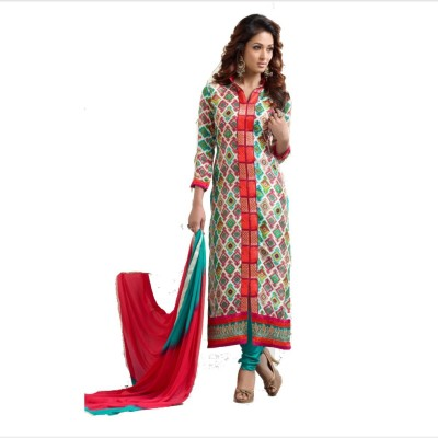 jbShoppers Chanderi Embroidered Semi-stitched Salwar Suit Dupatta & Waistcoat Material