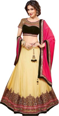 mGm Creation Net, Velvet Embroidered Semi-stitched Lehenga Choli Material