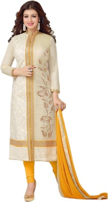 SkyBlue Fashion Chanderi Embroidered Semi-stitched Salwar Suit Dupatta Material
