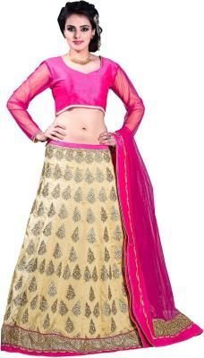 Khushali Cotton, Silk Self Design, Embroidered Semi-stitched Lehenga Choli Material