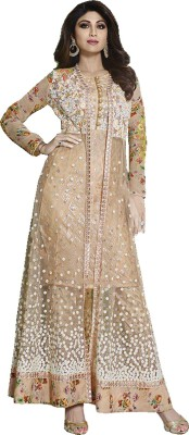 Fashion Forever Net Embroidered Semi-stitched Salwar Suit Dupatta Material