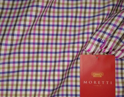 moretti italy Cotton Checkered Shirt Fabric