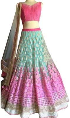 Colour Trendz Net, Silk Embroidered Semi-stitched Lehenga Choli Material