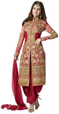 Taksh Fashion Georgette Embroidered Semi-stitched Salwar Suit Dupatta Material