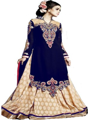 Uttamvastra Georgette Embroidered Semi-stitched Salwar Suit Dupatta Material