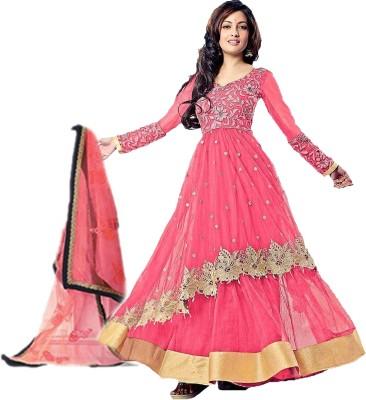 Fashionuma Net Embroidered Semi-stitched Salwar Suit Dupatta Material
