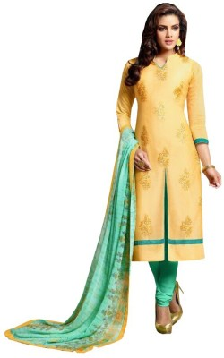 Sunrise International Chanderi Embroidered Semi-stitched Salwar Suit Dupatta Material