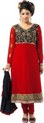Admyrin Georgette, Crepe, Chiffon Self Design Semi-stitched Salwar Suit Dupatta Material