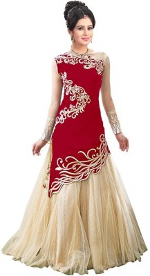Accurate Collection Net Embroidered Semi-stitched Lehenga Choli Material