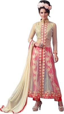 Manar Net, Cotton Silk Blend Embroidered Semi-stitched Salwar Suit Dupatta Material