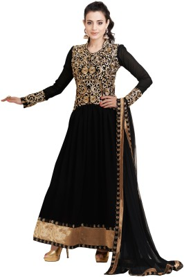 Variation Synthetic Georgette Embroidered Semi-stitched Salwar Suit Dupatta Material