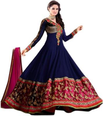 Shreet Fashion Georgette Embroidered Semi-stitched Salwar Suit Dupatta Material