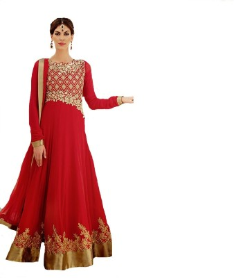krupasarees01 Georgette Embroidered Semi-stitched Salwar Suit Material