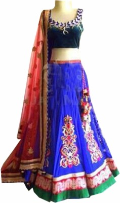 mGm Creation Georgette, Velvet Self Design Semi-stitched Lehenga Choli Material