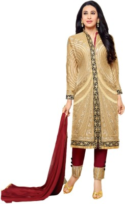 Fabfirki Fashion Hub Georgette Embroidered Semi-stitched Salwar Suit Dupatta Material