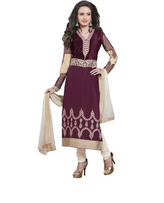 Multiretail Cotton Embroidered Semi-stitched Salwar Suit Dupatta Material