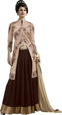 Saree Exotica Cotton, Silk Embroidered Semi-stitched Lehenga Choli Material