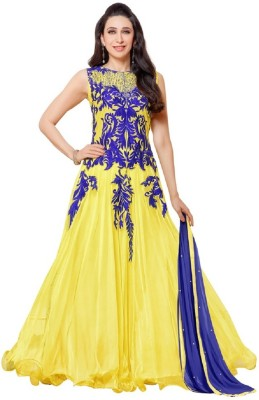 Radhe Fashion Georgette Solid Semi-stitched Salwar Suit Dupatta Material