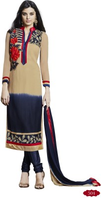Shahlon Georgette, Synthetic Georgette Embroidered Semi-stitched Salwar Suit Dupatta Material