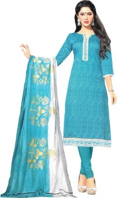Banjaraindia Chanderi Printed Semi-stitched Salwar Suit Dupatta Material