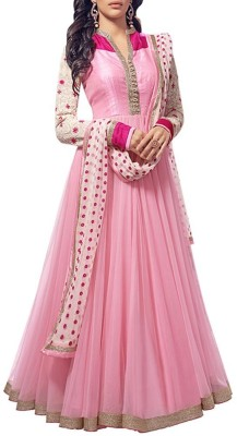 KrushnaCreation Net Embroidered Gown & Waistcoat Material