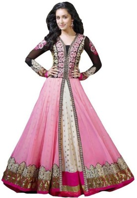 starenterpries Georgette Embroidered Semi-stitched Salwar Suit Material