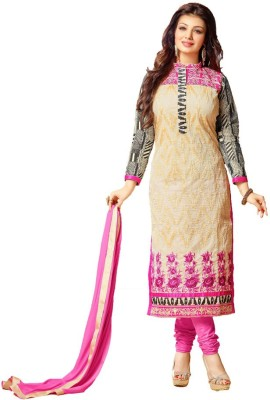 Inaaya Collections Chanderi Embroidered Salwar Suit Dupatta Material