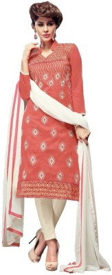 Reveka Fashion Chanderi Embroidered Salwar Suit Dupatta Material