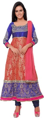MF Retail Brasso Embroidered Semi-stitched Salwar Suit Dupatta Material