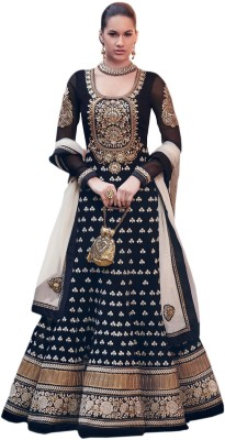 MRS Georgette Embroidered Semi-stitched Salwar Suit Dupatta Material