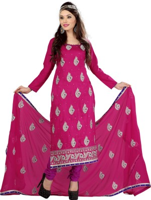 Value Added Fashion Cotton Polyester Blend Self Design Semi-stitched Salwar Suit Dupatta Material