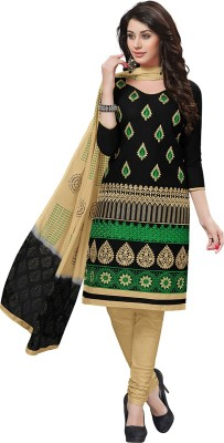 RK Style Cotton Embroidered Salwar Suit Dupatta Material(Un-stitched)