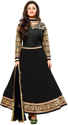 Cozee Shopping Georgette Embroidered Semi-stitched Salwar Suit Dupatta Material