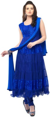 Radhe Fabrics Georgette, Net Embellished Semi-stitched Salwar Suit Dupatta Material