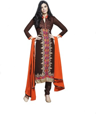 Shahlon Georgette, Synthetic Georgette Embroidered Salwar Suit Dupatta Material