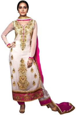JMDtrade Georgette Embroidered Semi-stitched Salwar Suit Dupatta Material