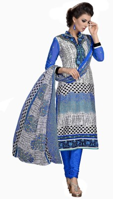 Manvaa Crepe Embroidered Semi-stitched Salwar Suit Dupatta Material