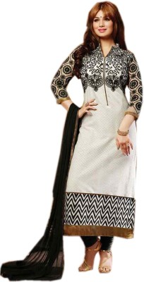 Wedding Villa Cotton Embroidered Semi-stitched Salwar Suit Dupatta Material