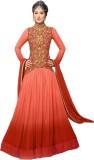 Thankar Net Striped Semi-stitched Salwar...
