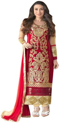 Javuli Synthetic Georgette Self Design Semi-stitched Gown & Salwar Material