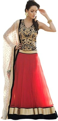 DWM Net Embroidered Semi-stitched Lehenga Choli Material