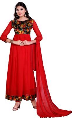 Glory Sarees Georgette Printed Salwar Suit Dupatta Material