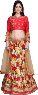 Bhelpuri Jute, Silk Floral Print, Self Design Semi-stitched Lehenga Choli Material