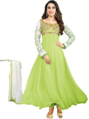Govindam Georgette Embroidered Semi-stitched Salwar Suit Dupatta Material