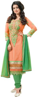 3G9 Shop Georgette Embroidered Semi-stitched Salwar Suit Dupatta Material